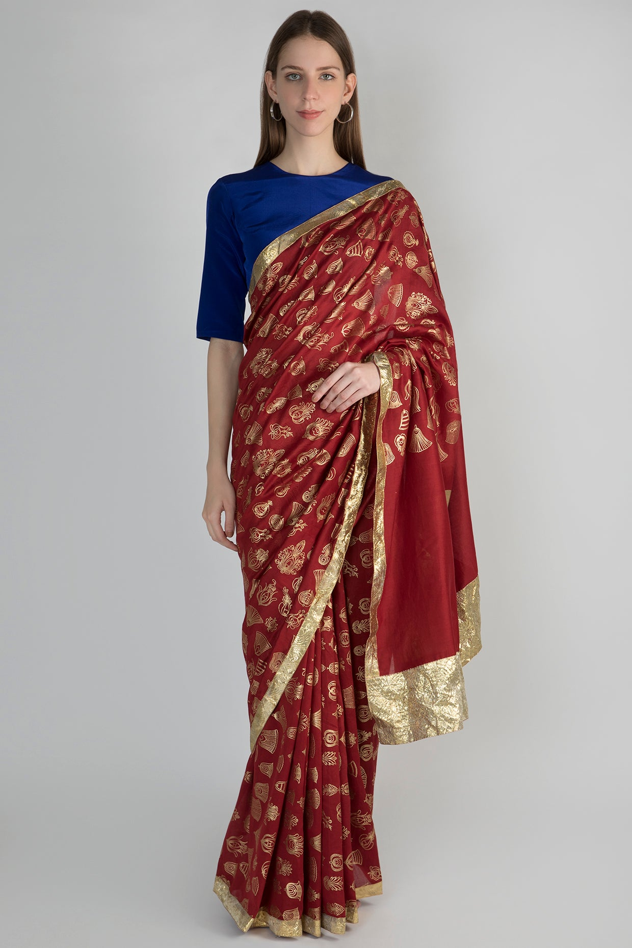 MAROON GULSHAN PRINT SARI WITH GOTA BORDER & BLUE BLOUSE PIECE - The Grand Trunk