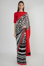 Load image into Gallery viewer, BLACK & WHITE DITSY FLORAL AND STRIPES SARI WITH SONGBIRDS PATCH PALLA AND BLOUSE PIECE - The Grand Trunk