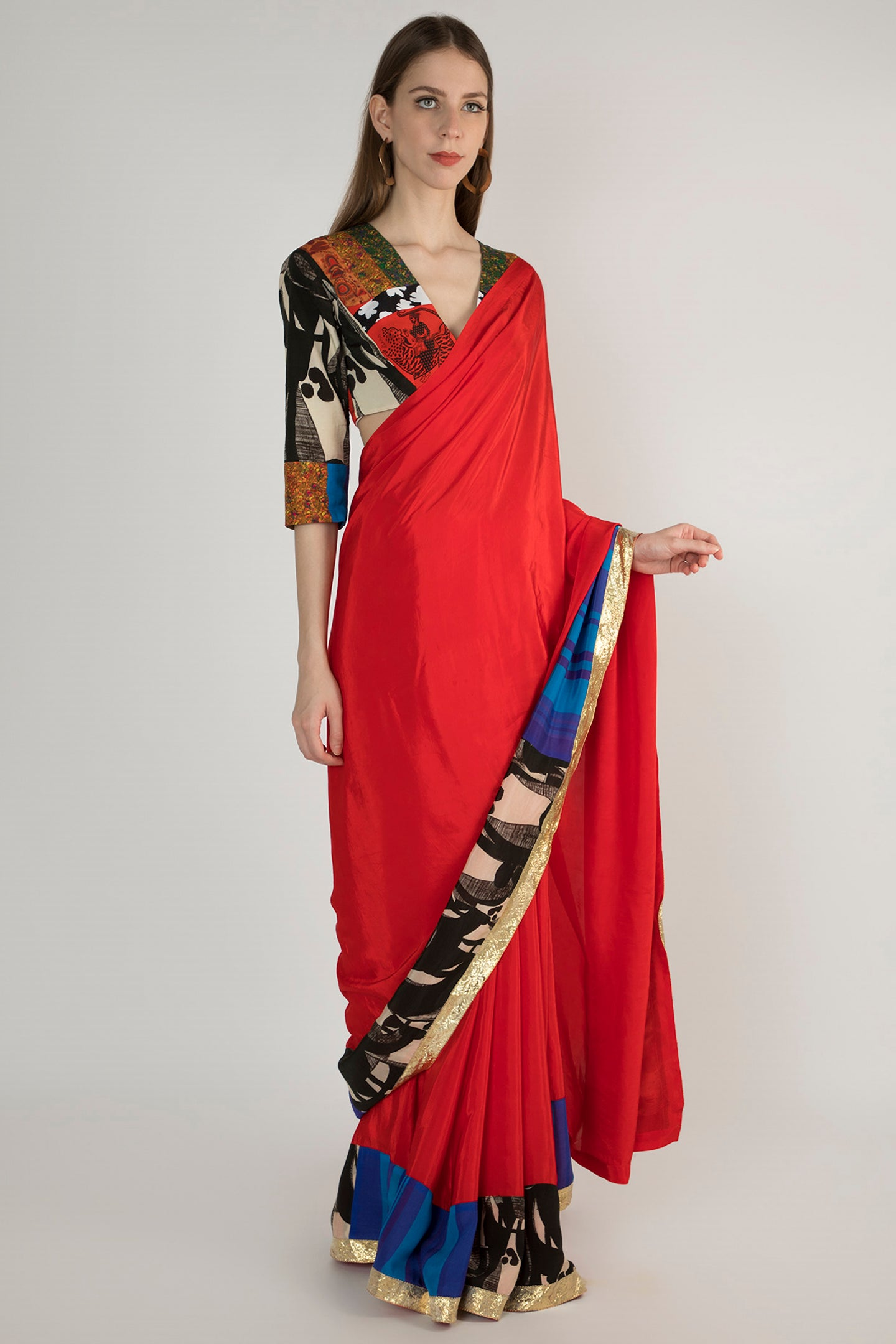 RED PATCHWORK SARI AND BLOUSE PIECE - The Grand Trunk