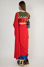 Load image into Gallery viewer, RED PATCHWORK SARI AND BLOUSE PIECE - The Grand Trunk