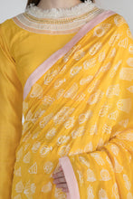 Load image into Gallery viewer, YELLOW GULSHAN PRINT SARI WITH BLOUSE PIECE - The Grand Trunk