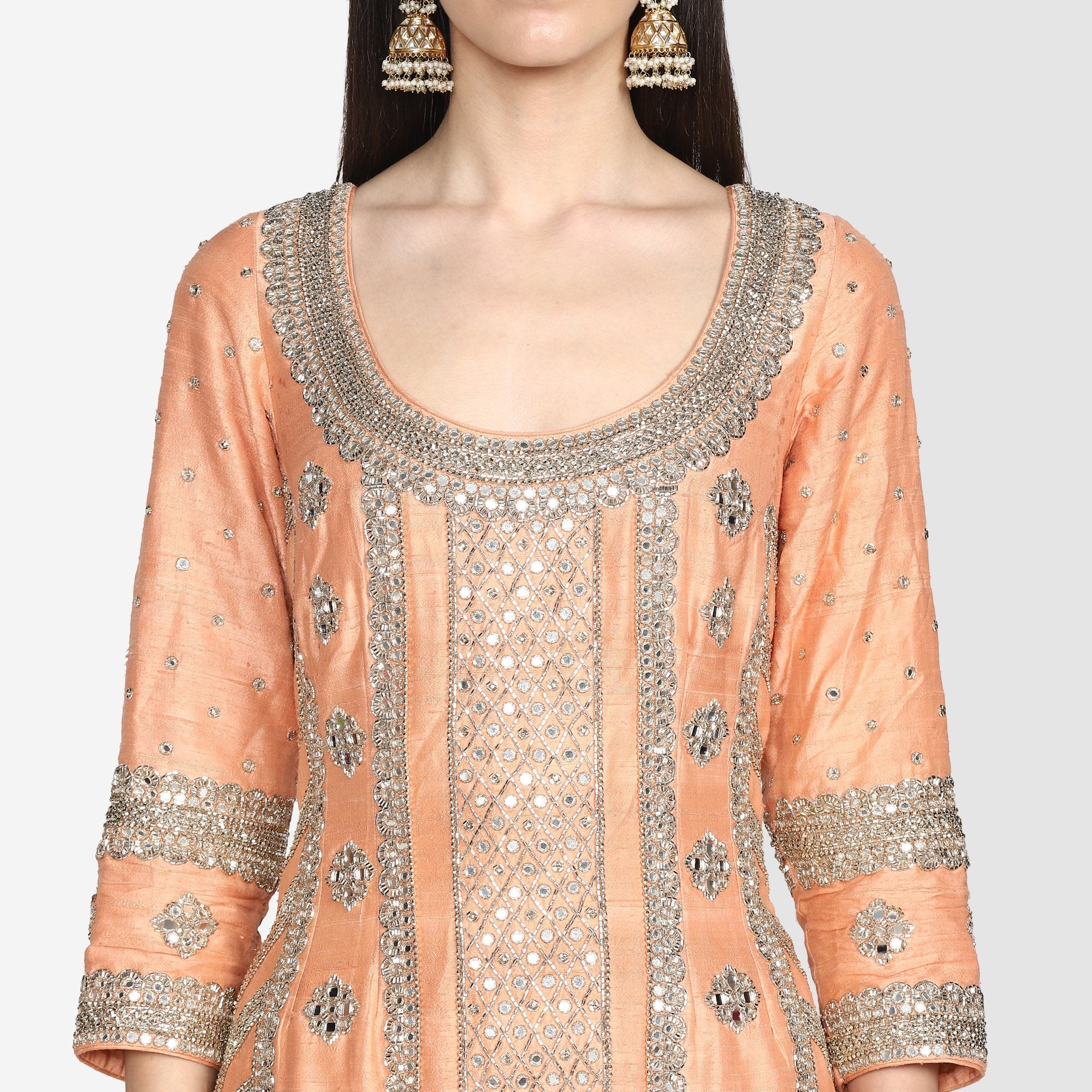 Abhinav Mishra Peach Sharara Set - The Grand Trunk