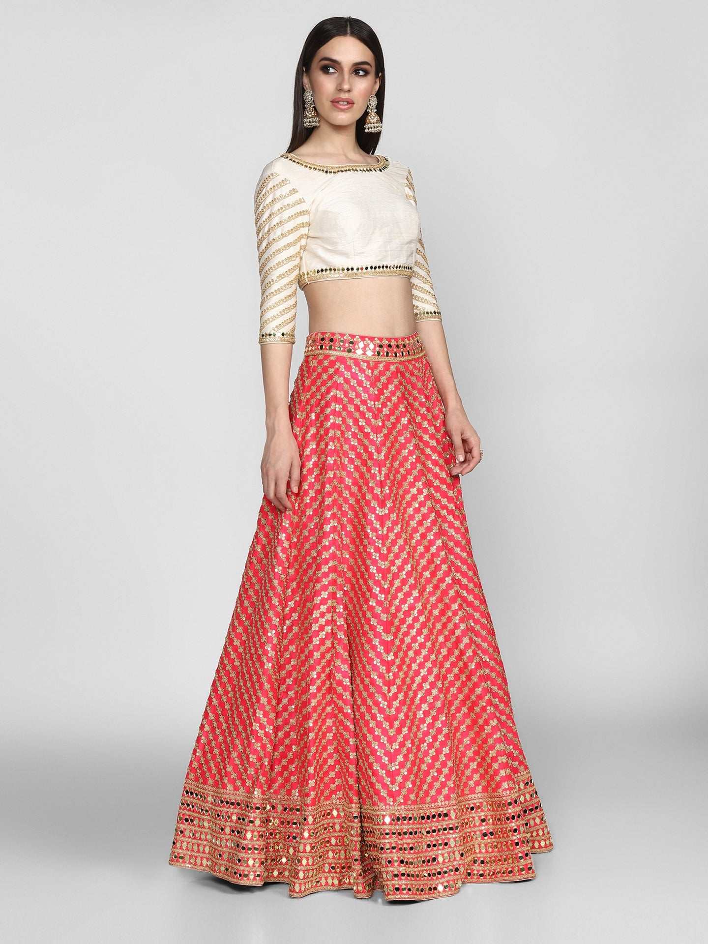 Abhinav Mishra  Pink And Off White  Lehenga Set - The Grand Trunk