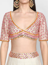 Load image into Gallery viewer, Abhinav Mishra  Poweder blue and pink, orange Lehenga Set - The Grand Trunk