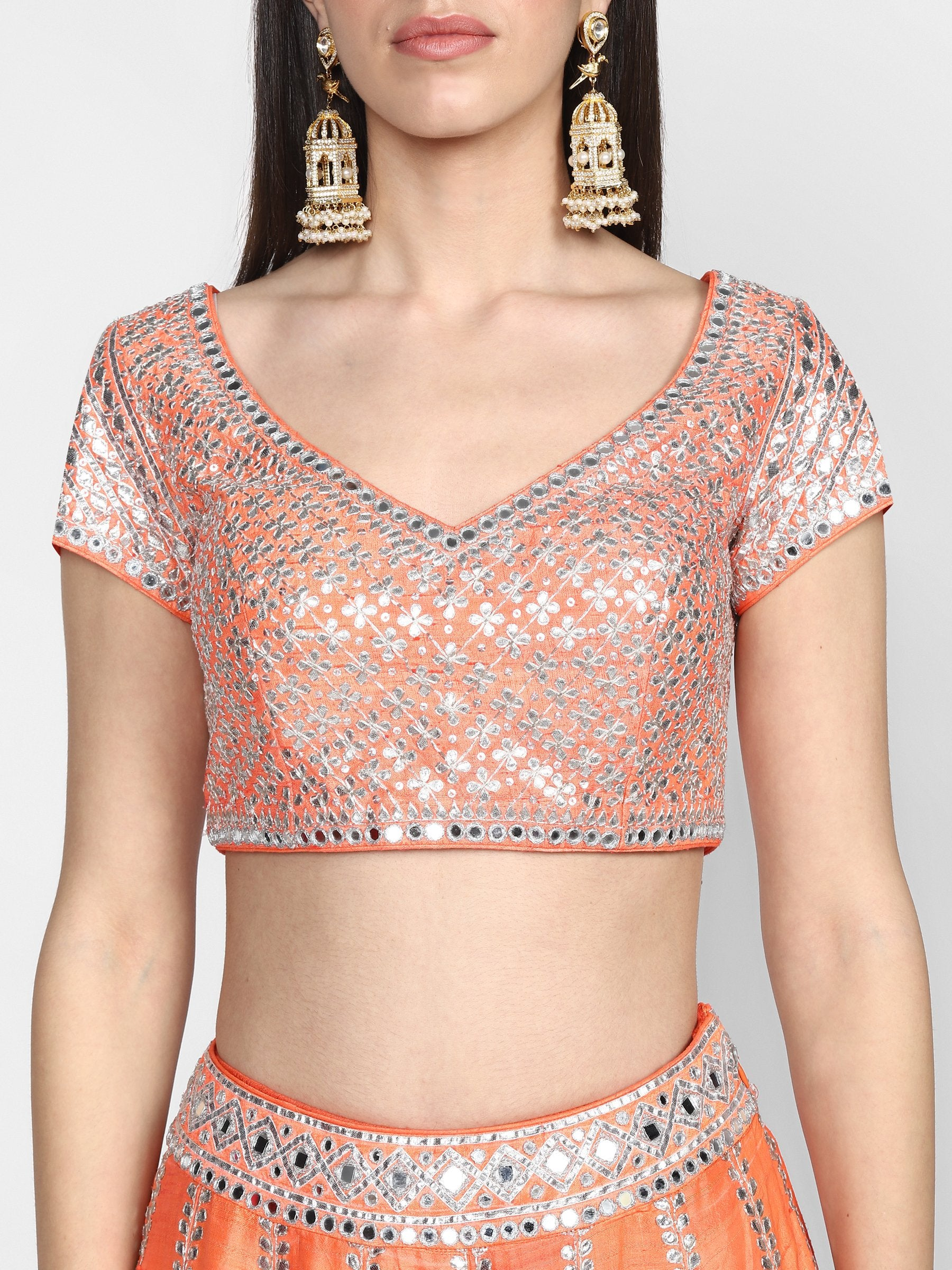 Abhinav Mishra  Orange Lehenga Set - The Grand Trunk