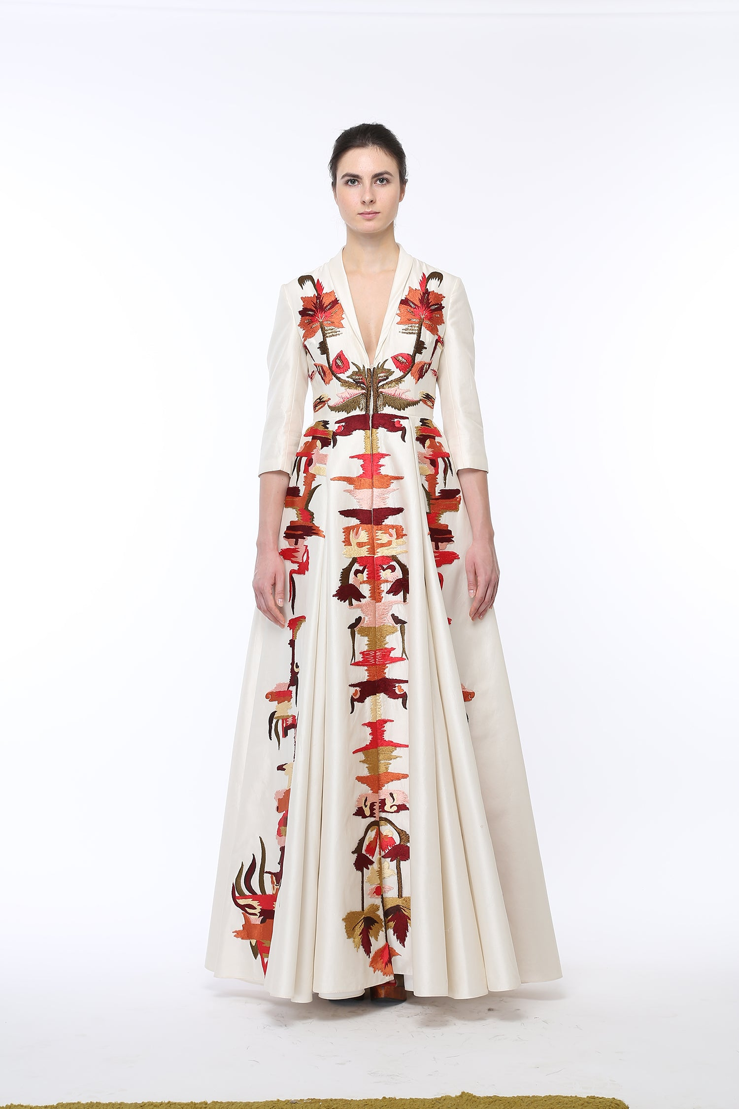 Floor-length Fit & flare embroidered Gown - The Grand Trunk