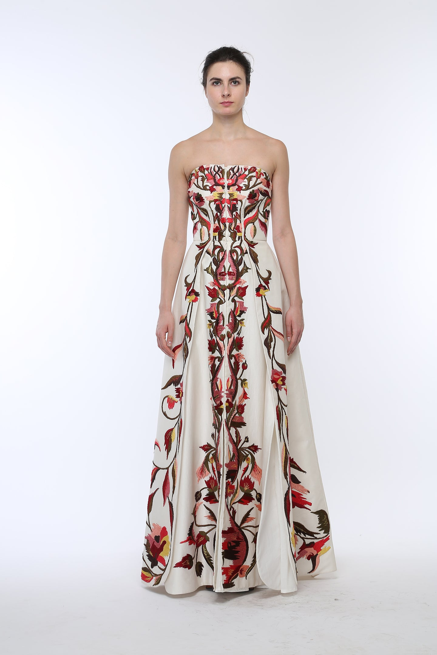 Front-opening Fit & Flare Embroidered Gown. - The Grand Trunk
