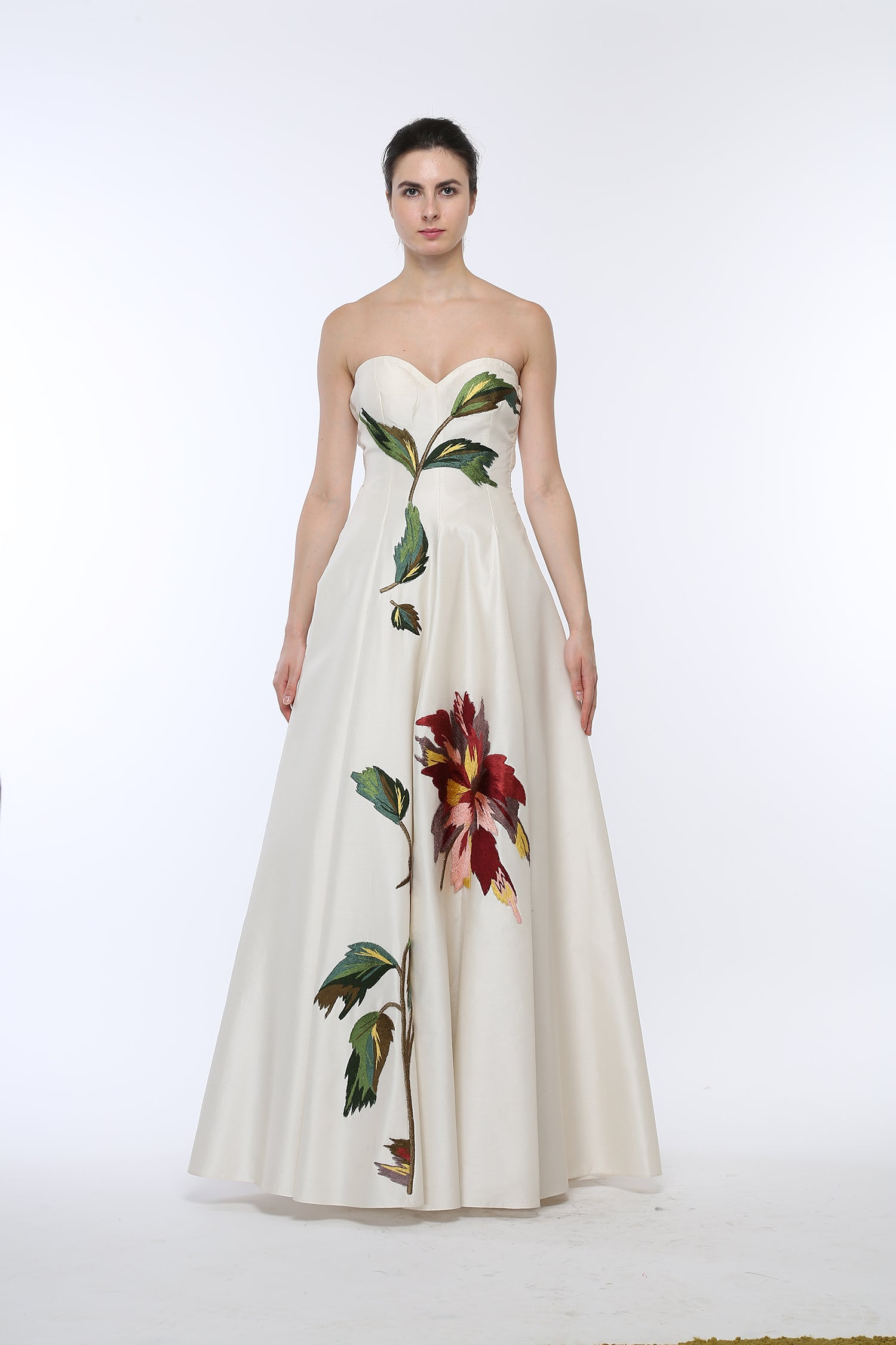 Floral Embroidered Buster Gown. - The Grand Trunk