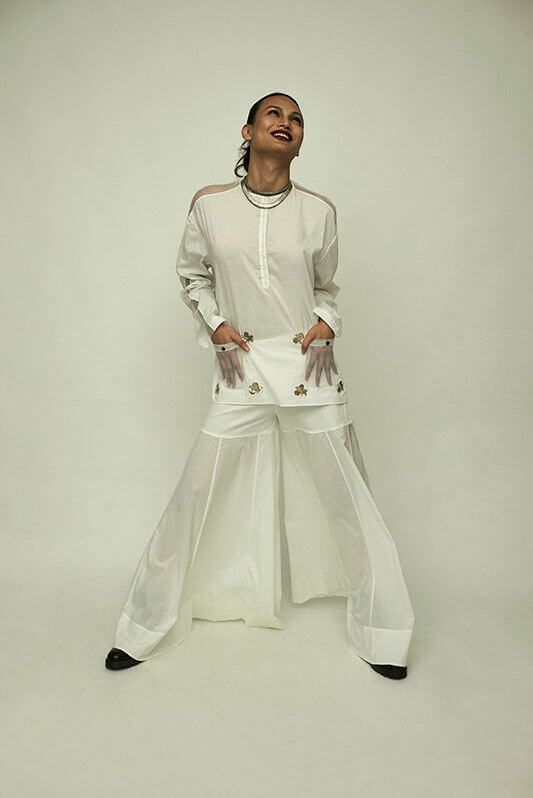 White bird boota top with  mesh detailing +Sharara - The Grand Trunk