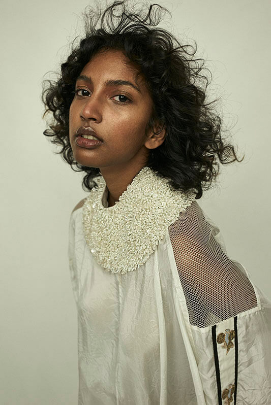 White habutai silk crushed top with embellishment+ cotton skirt - The Grand Trunk