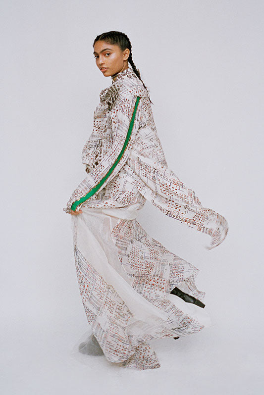 Printed habutai silk lapel jacket+ printed skirt - The Grand Trunk