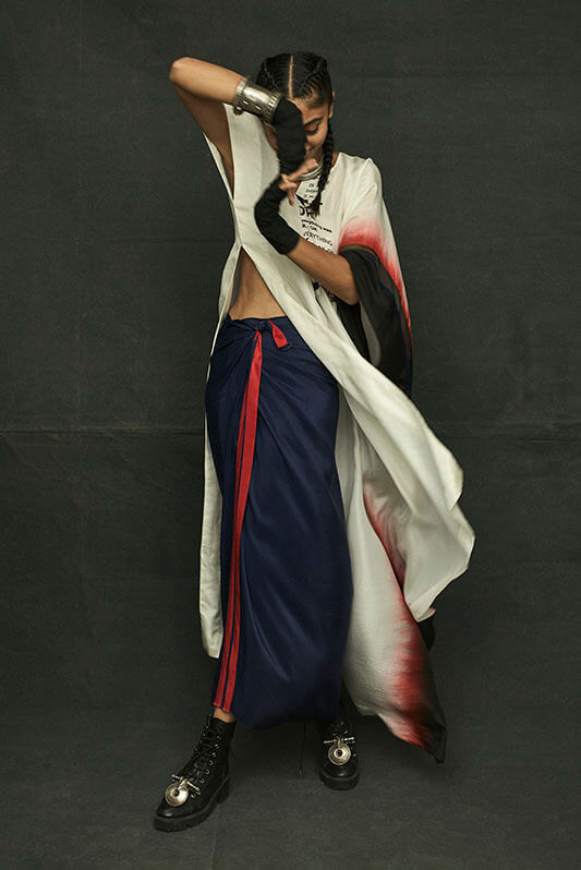 Anamika Khanna shaded kaftaan with wrap skirt - The Grand Trunk