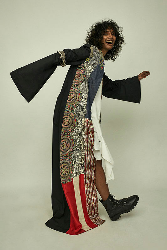 Embroidered long coat+ slip dress - The Grand Trunk