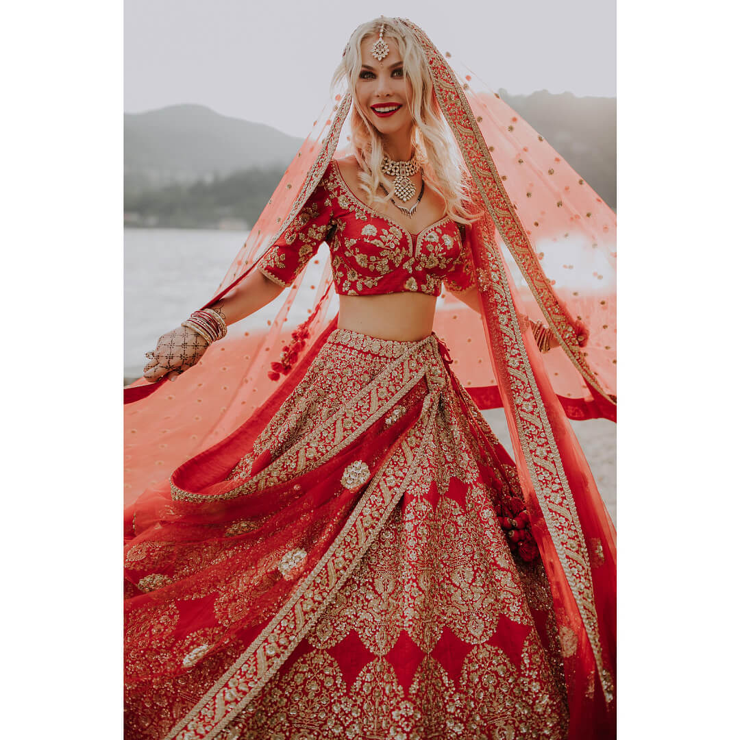 Sabyasachi Red Embroidered and Embellished Lehenga - The Grand Trunk