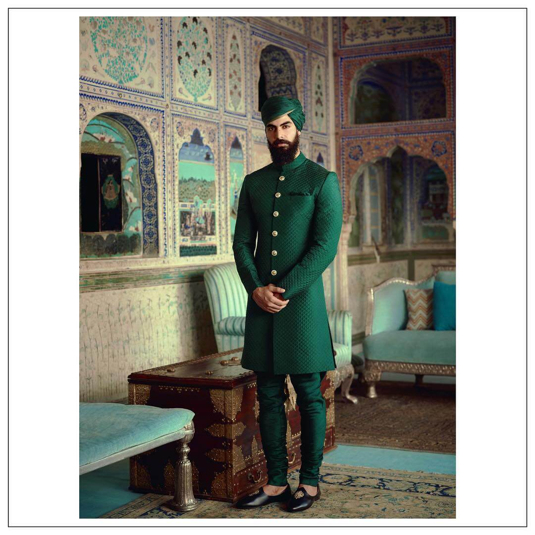 Sabyasachi Green Quilted Silk Sherwani - The Grand Trunk