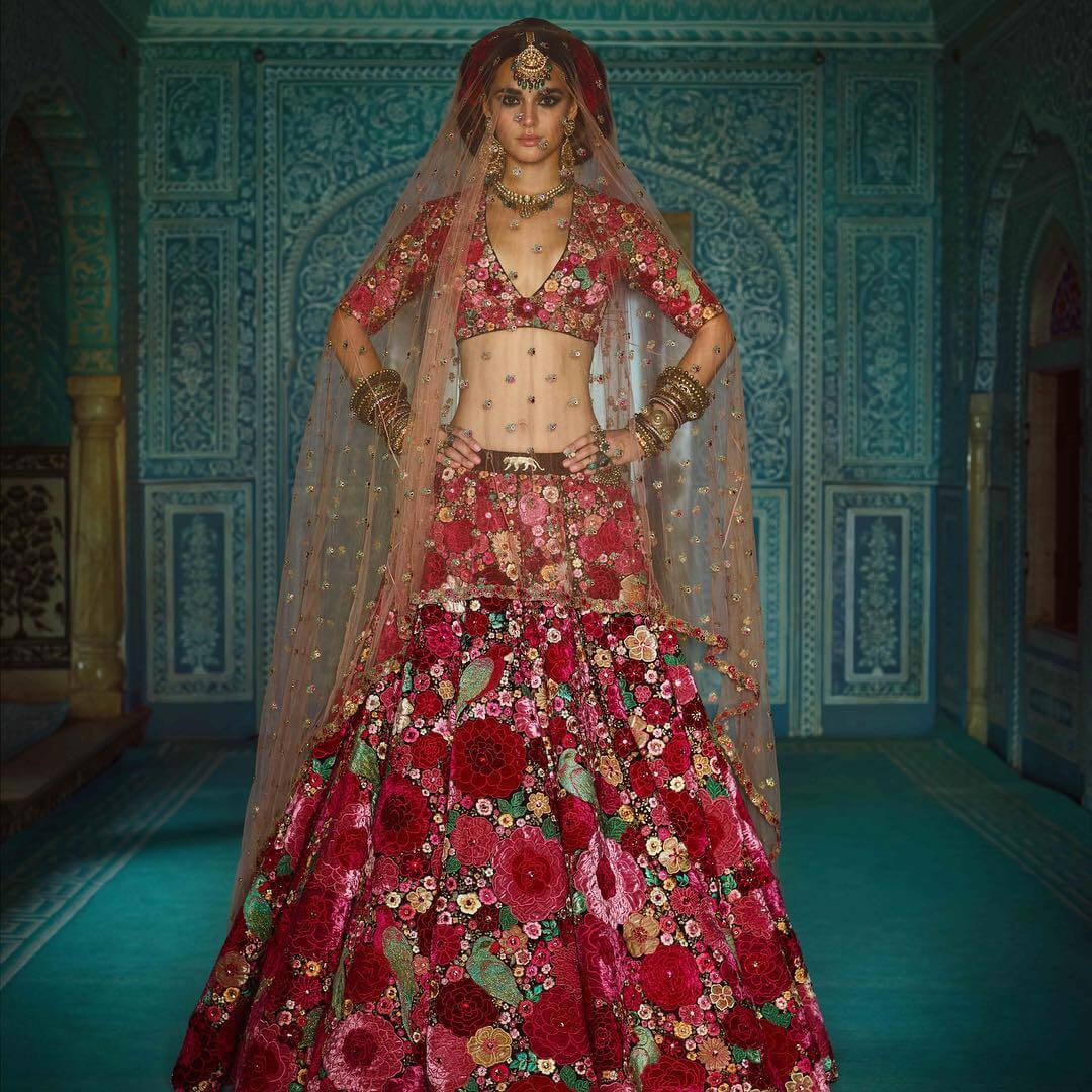 Sabyasachi Multicolor embroidery Lehenga - The Grand Trunk