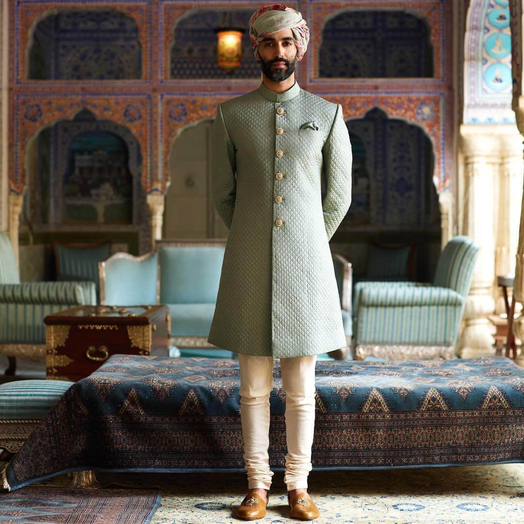 Sabyasachi Lotus Jade Quilted Silk Sherwani - The Grand Trunk