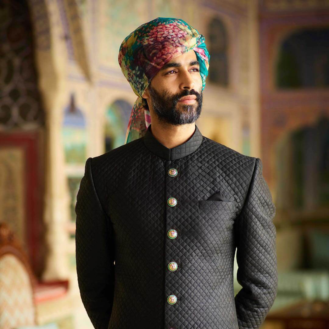 Sabyasachi Afghan Black Quilted Silk Sherwani - The Grand Trunk