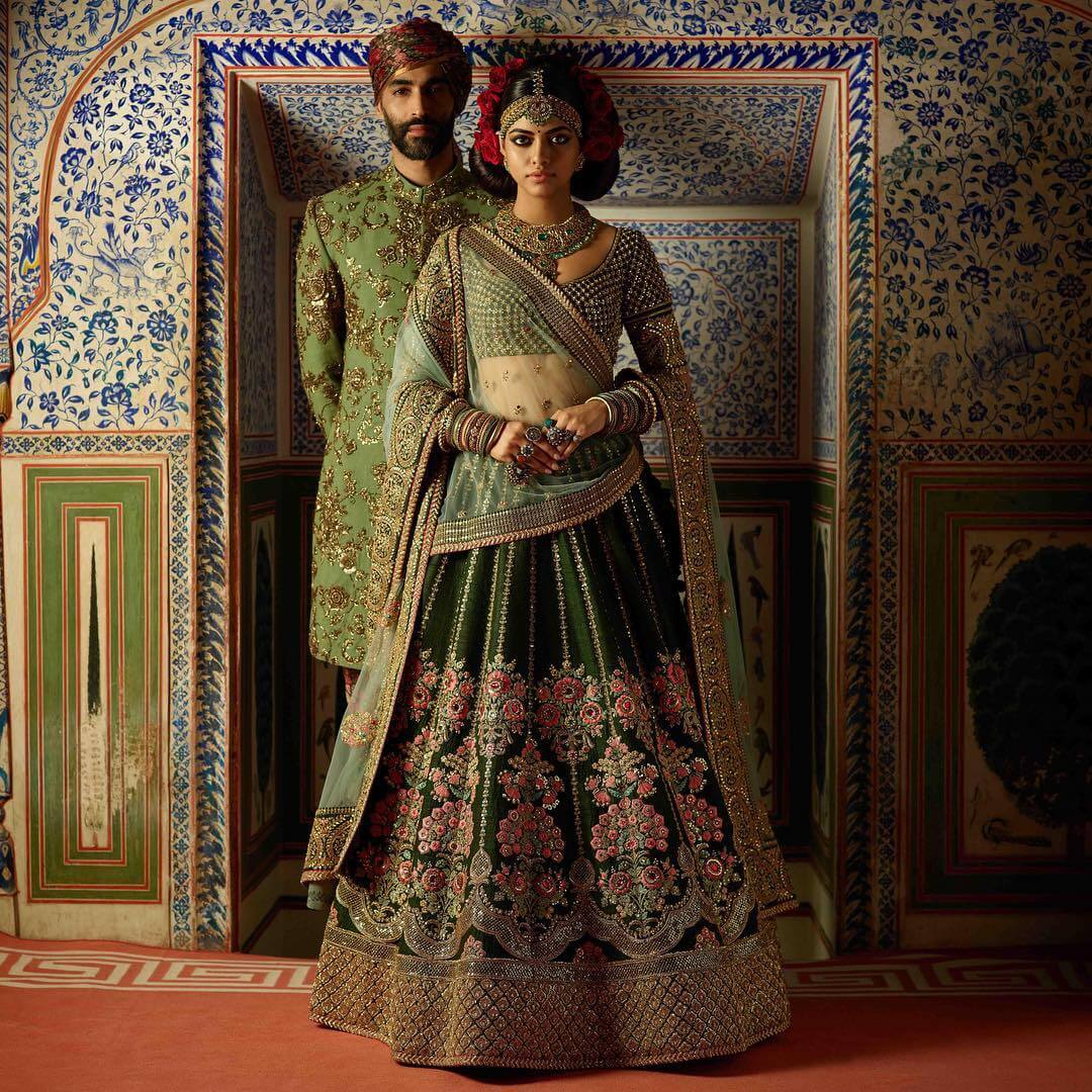 Sabyasachi Green Embellished & Embroidered Silk Lehenga - The Grand Trunk
