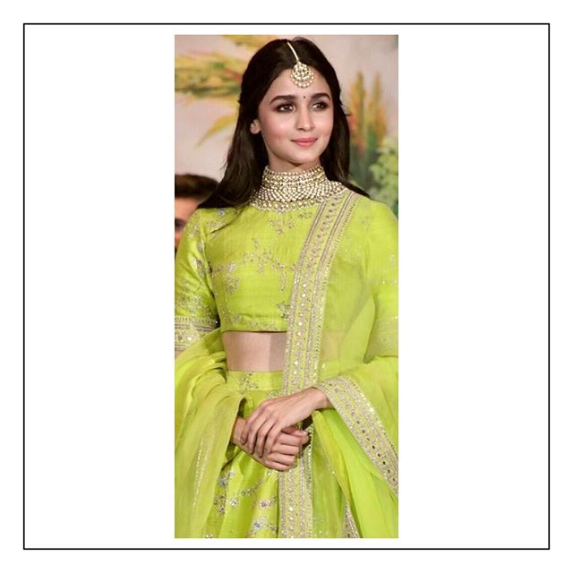 Sabyasachi Alia Bhatt Fluorescent Green Lehenga In Silk And Organza - The Grand Trunk