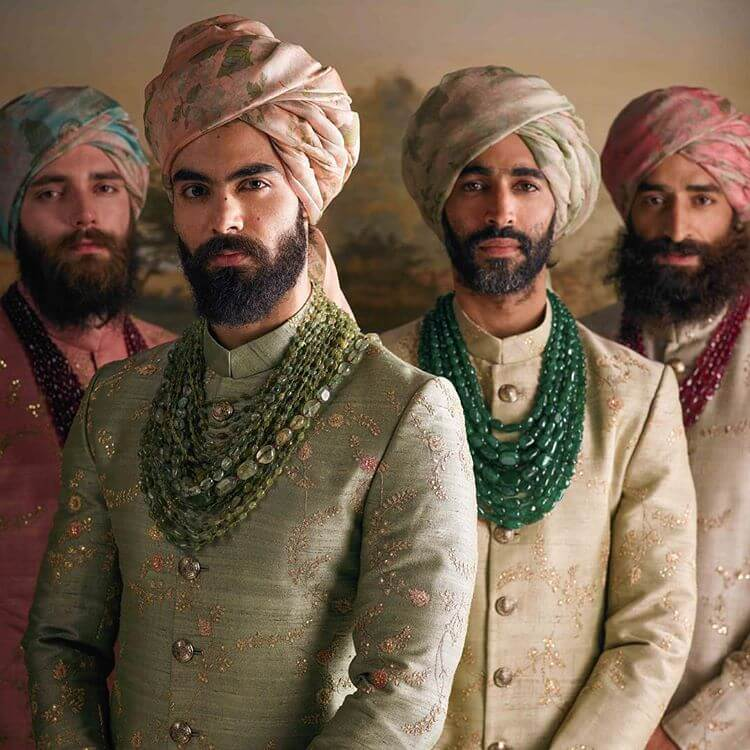 Sabyasachi Pale Hand-Embroidered Sherwanis - The Grand Trunk