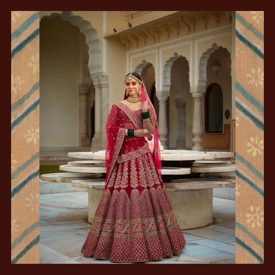 Sabyasachi Indian pink raw silk Lehenga - The Grand Trunk