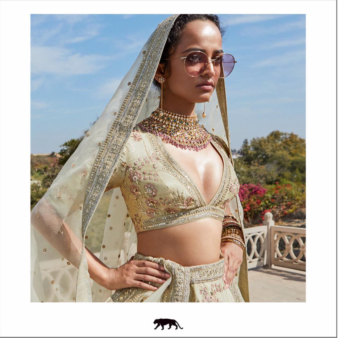 Sabyasachi Pale Mint Lehenga - The Grand Trunk