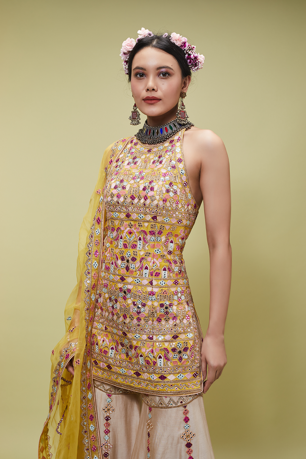 MUSTARD KURTA WITH BEIGE GHARARA - The Grand Trunk