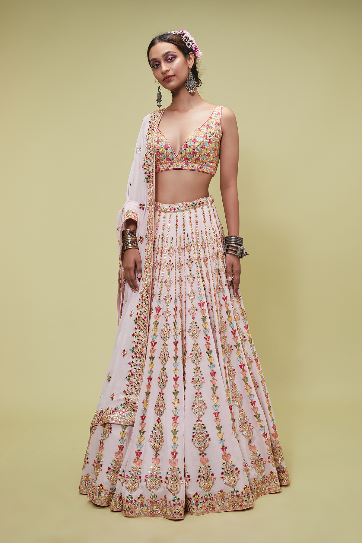 PINK GEORGETTE LEHENGA SET - The Grand Trunk