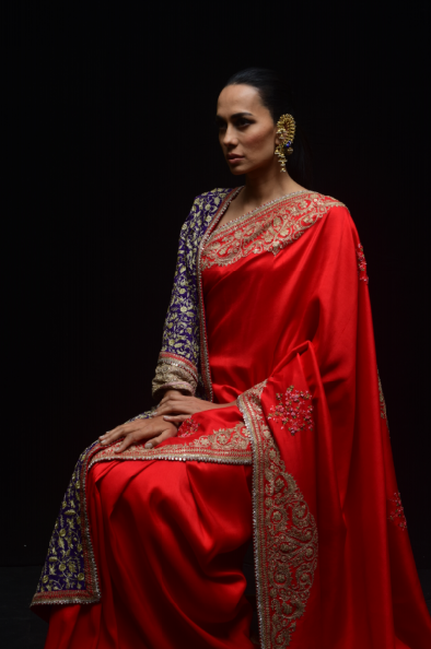 Red Silk Dupion Gold  Sari - The Grand Trunk