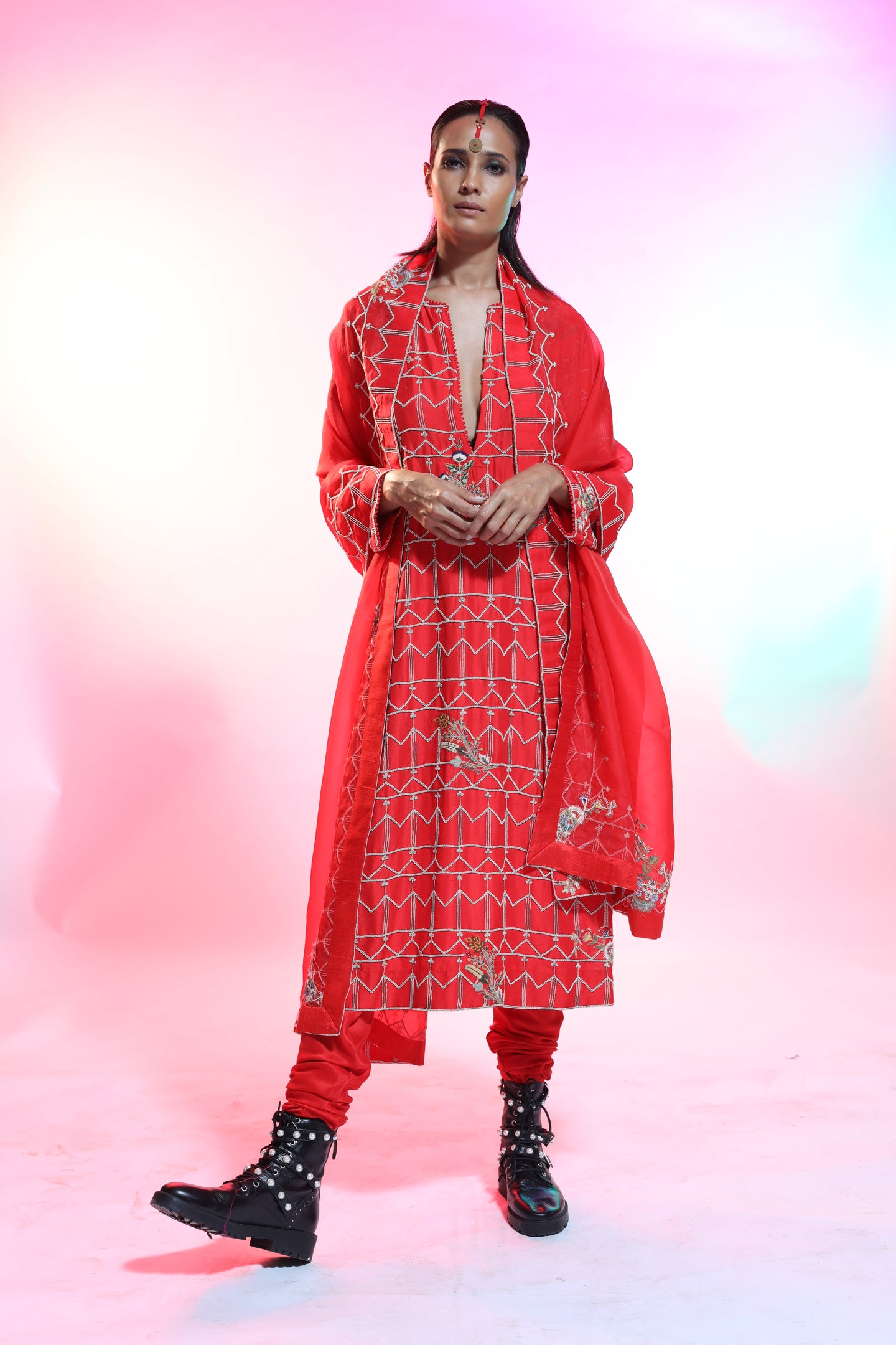 Red Silk Resham Embroidered Straight Kurta - The Grand Trunk