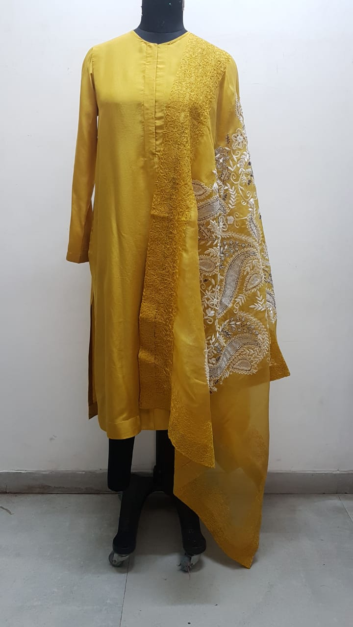 Mustard Box Pleat Straight Kurta - The Grand Trunk
