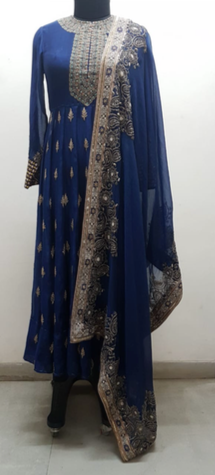 Indigo Chanderi Resham Kurta - The Grand Trunk