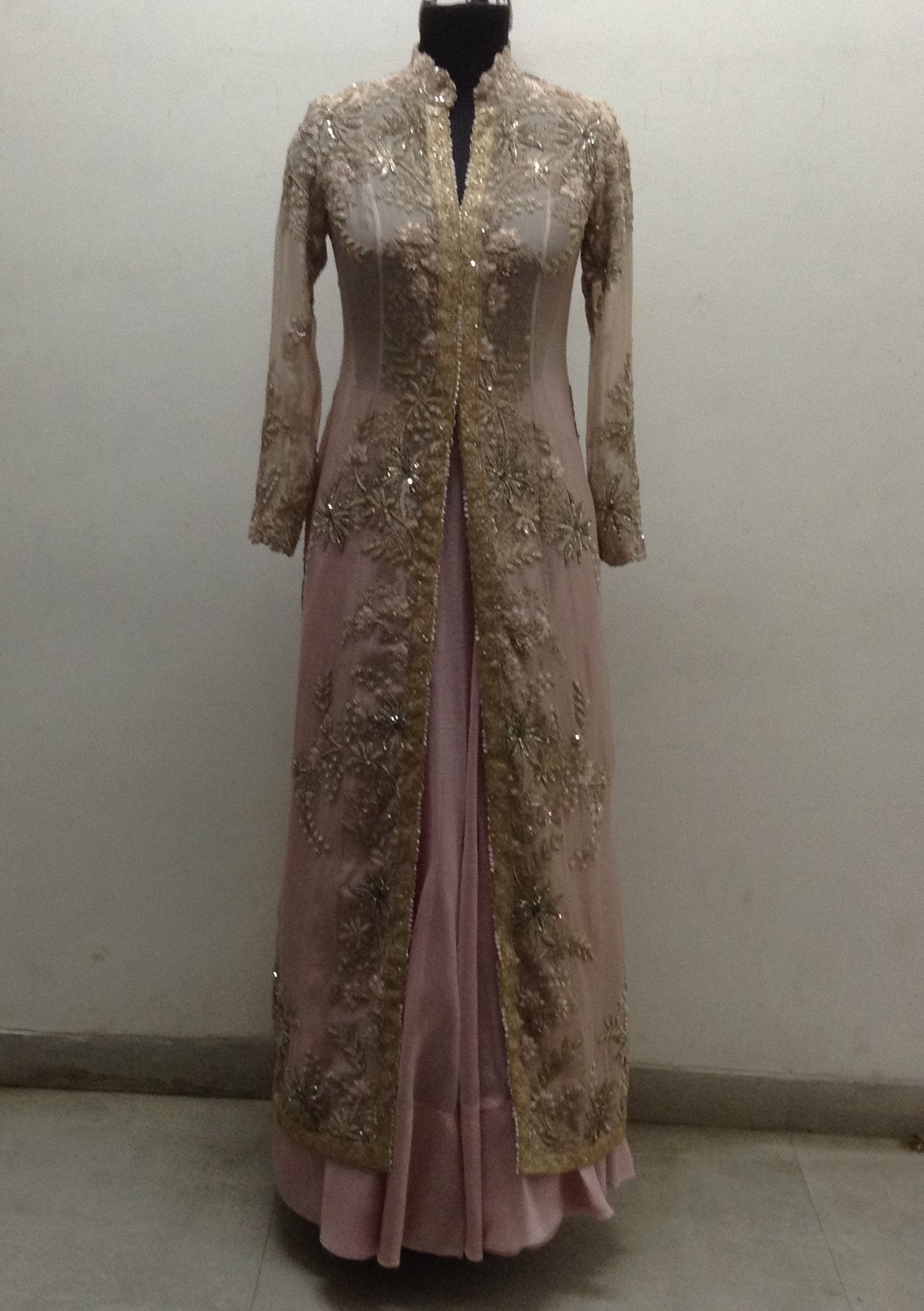 Baby Pink Chanderi Gold Long Coat - The Grand Trunk