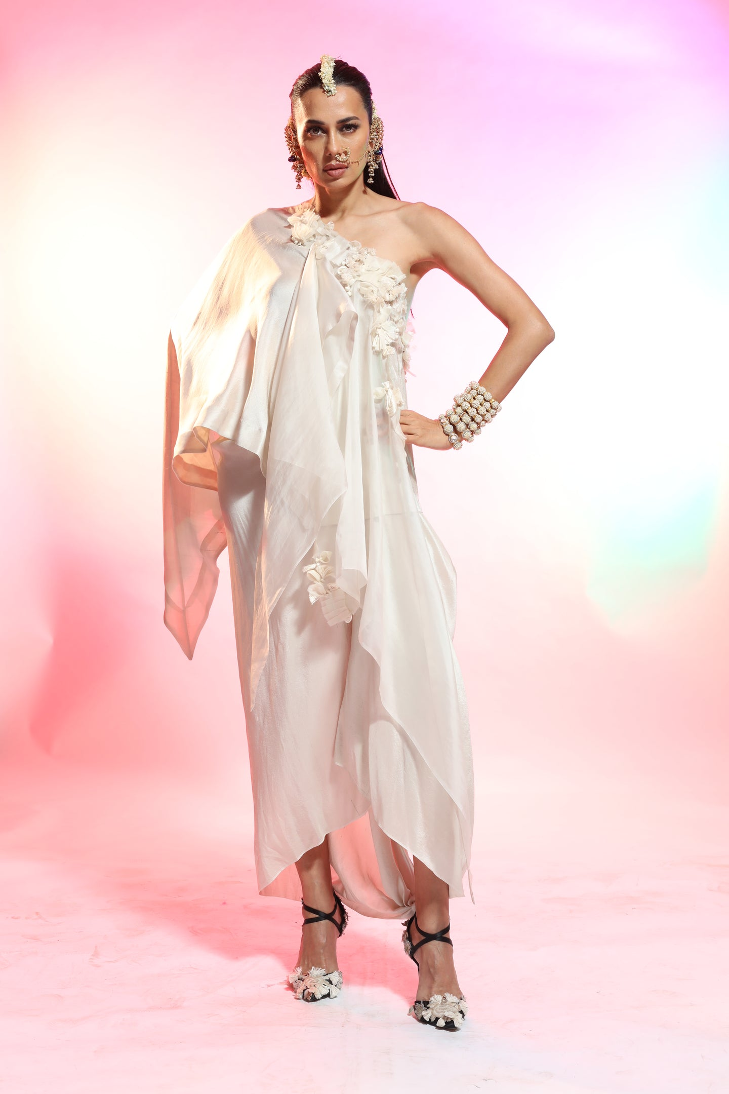 Textured Silk One Shoulder Kurta With Draped Skirt - The Grand Trunk