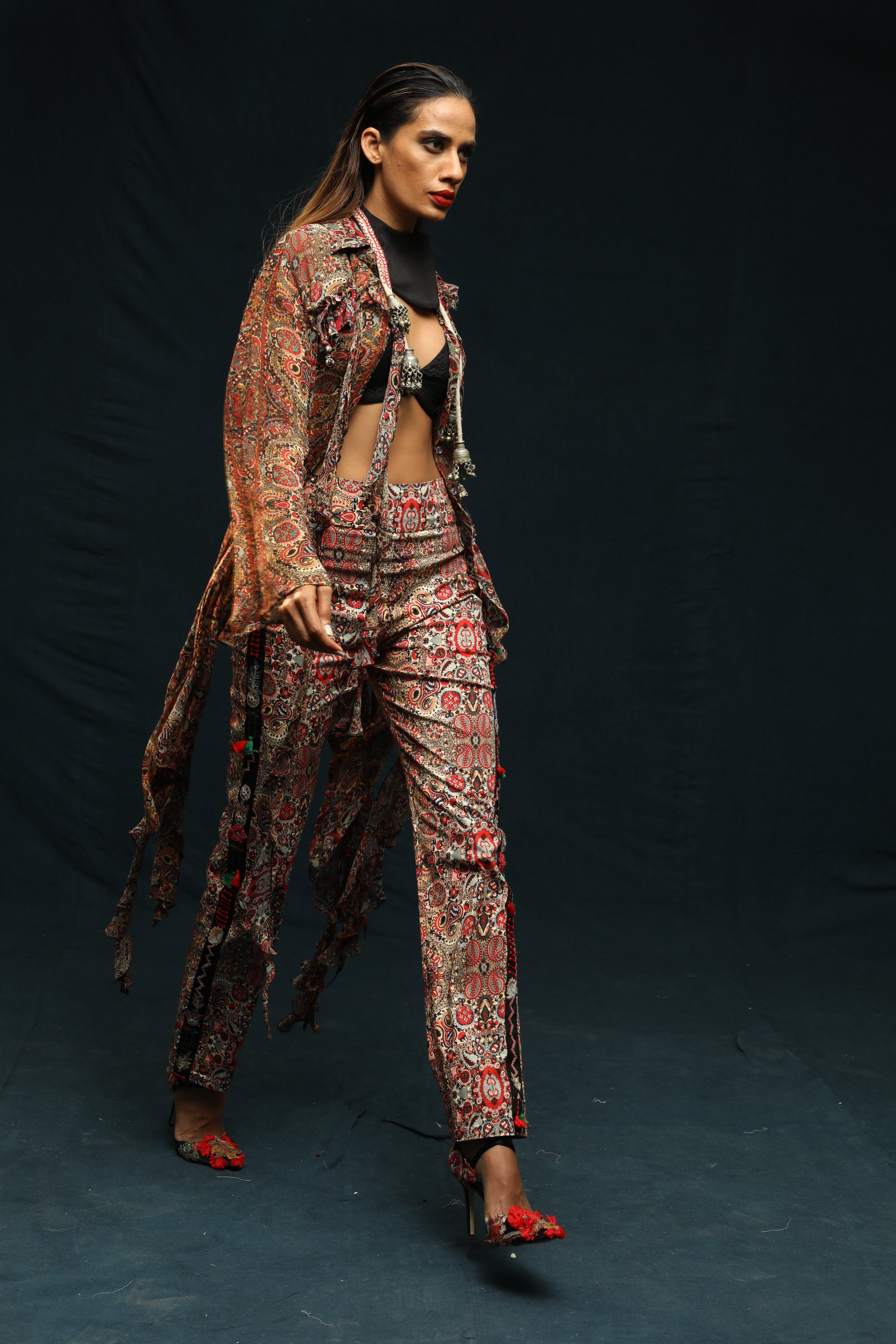 Printed Deconstructed Silk Shirt With Printed Pants - The Grand Trunk