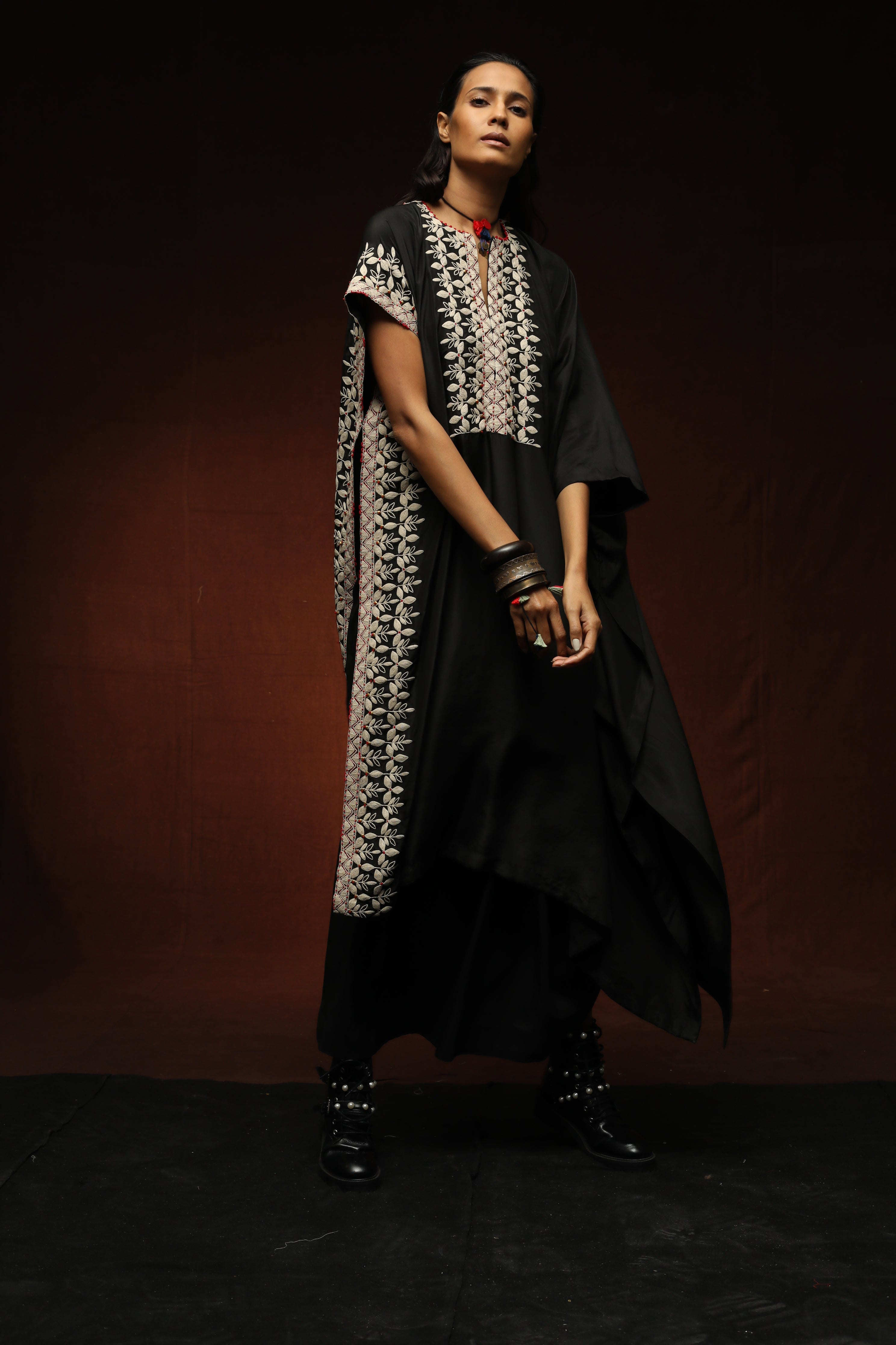 Off-White Cord Embroidered Kaftan With Lungi Skirt - The Grand Trunk