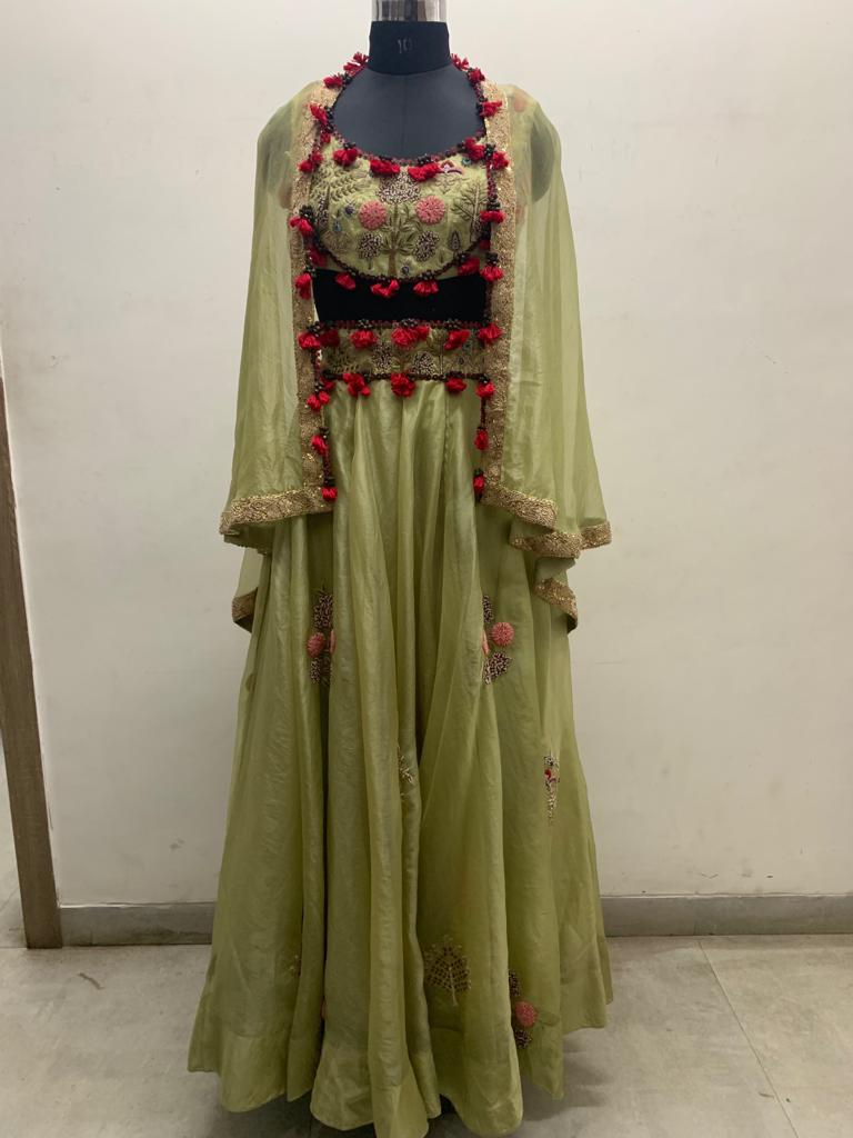 Green Forest Organza Boota Embroidered Lehenga With  +Lycra Top - The Grand Trunk