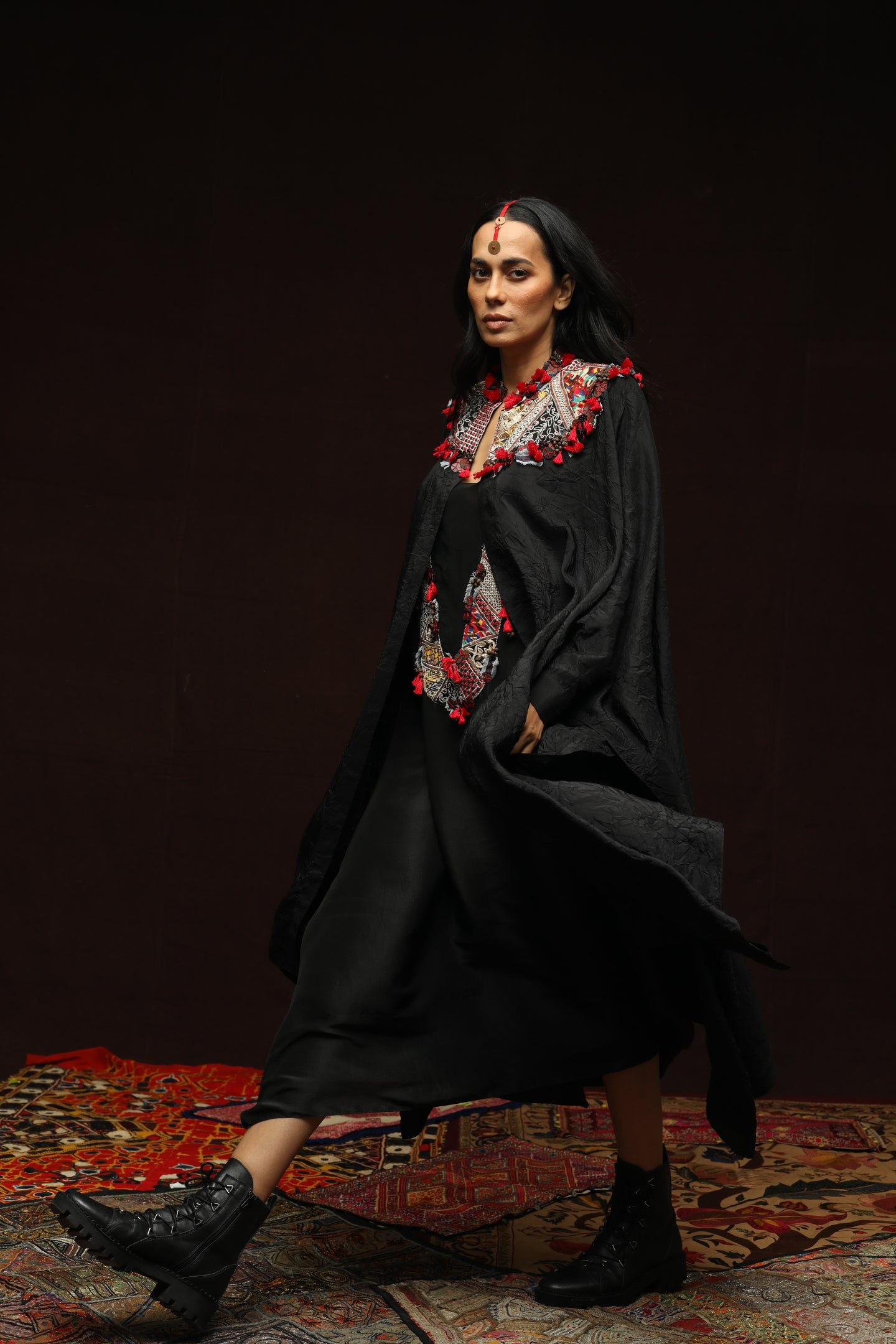 Black Crushed Shirt Cape With Slip Dress - The Grand Trunk