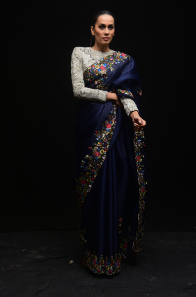 Indigo Organza Sari - The Grand Trunk
