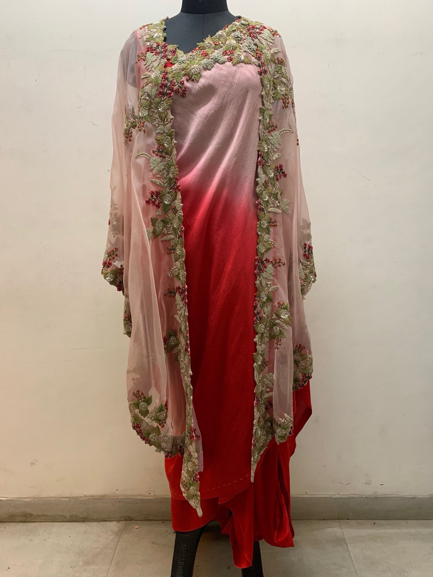 Pink Multi Embroidered Kareena Cape - The Grand Trunk