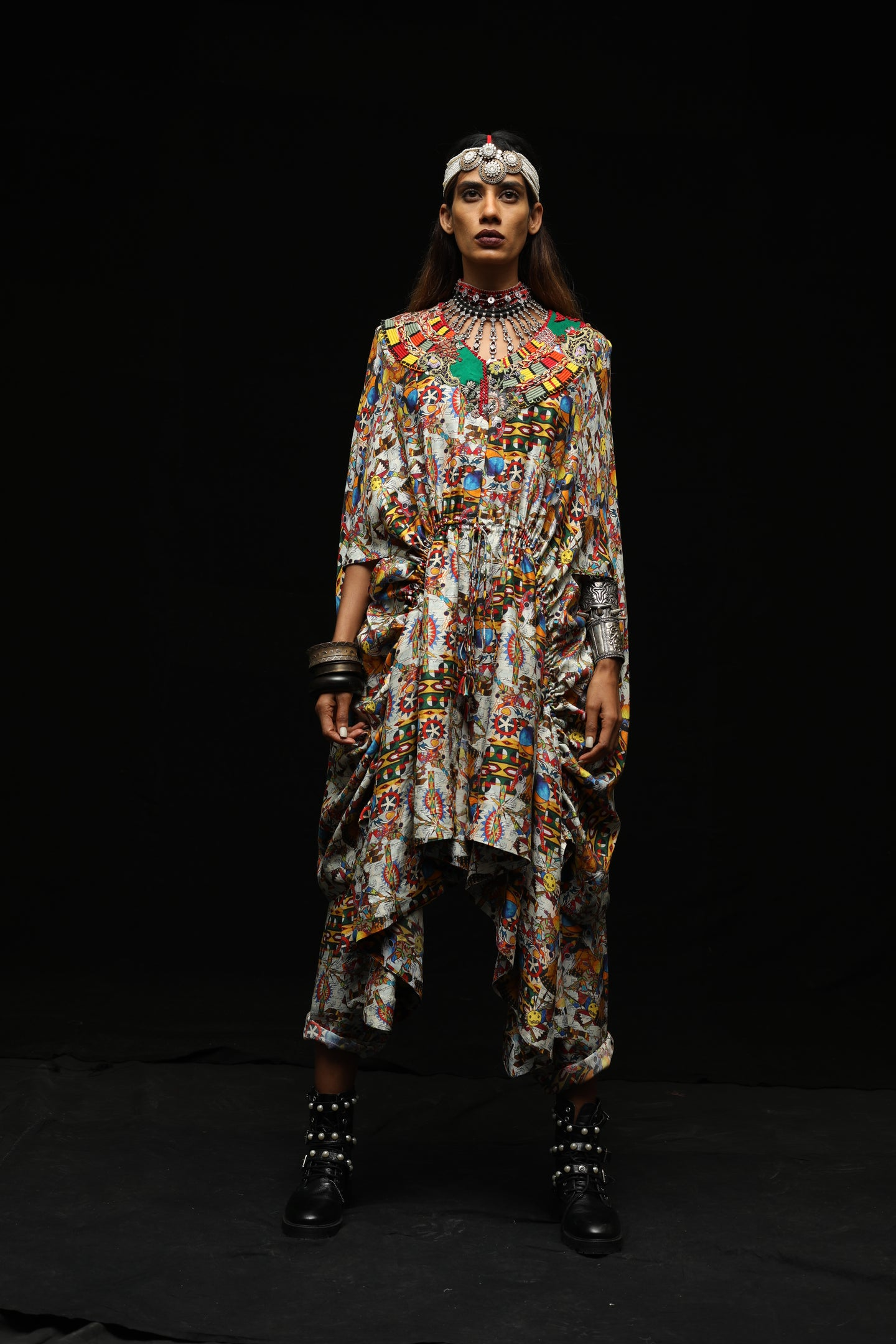 Printed Draw String Cape With Lycra Pants - The Grand Trunk