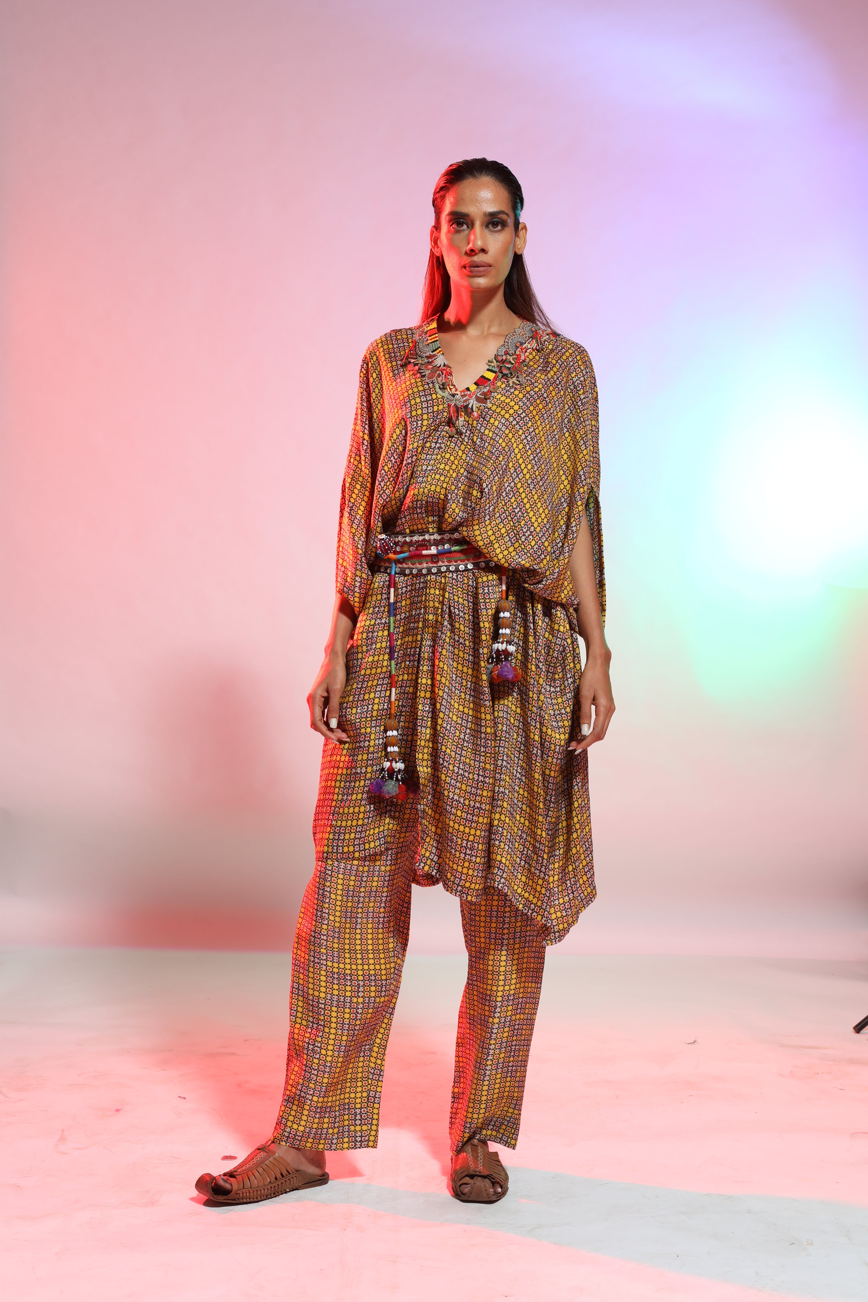 Printed Pickup Cape With Silk Pants - The Grand Trunk