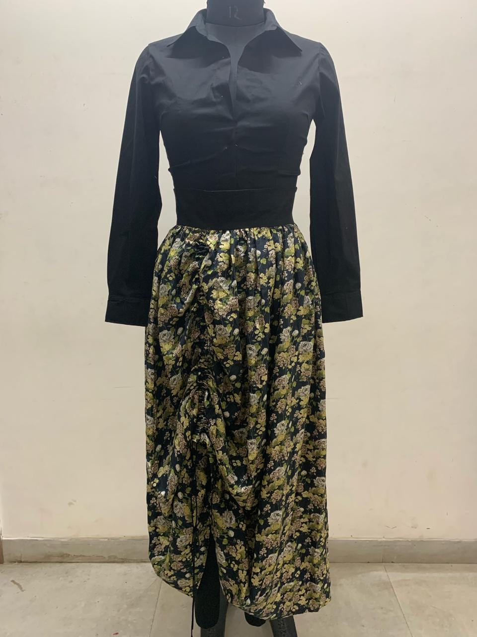 Lycra Shirt With Black Floral Printed Skirt - The Grand Trunk