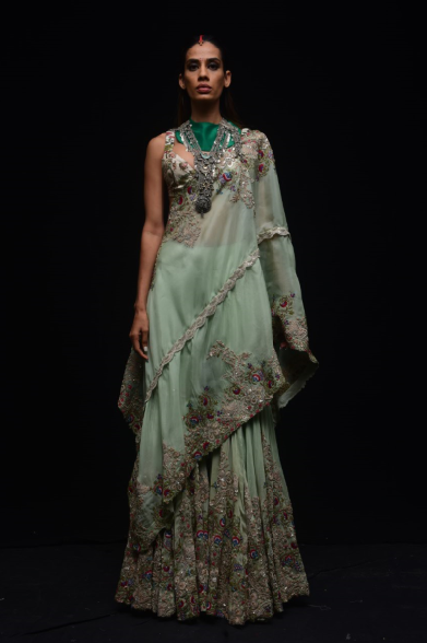 Chanderi Embroidered Gathered Sharara - The Grand Trunk