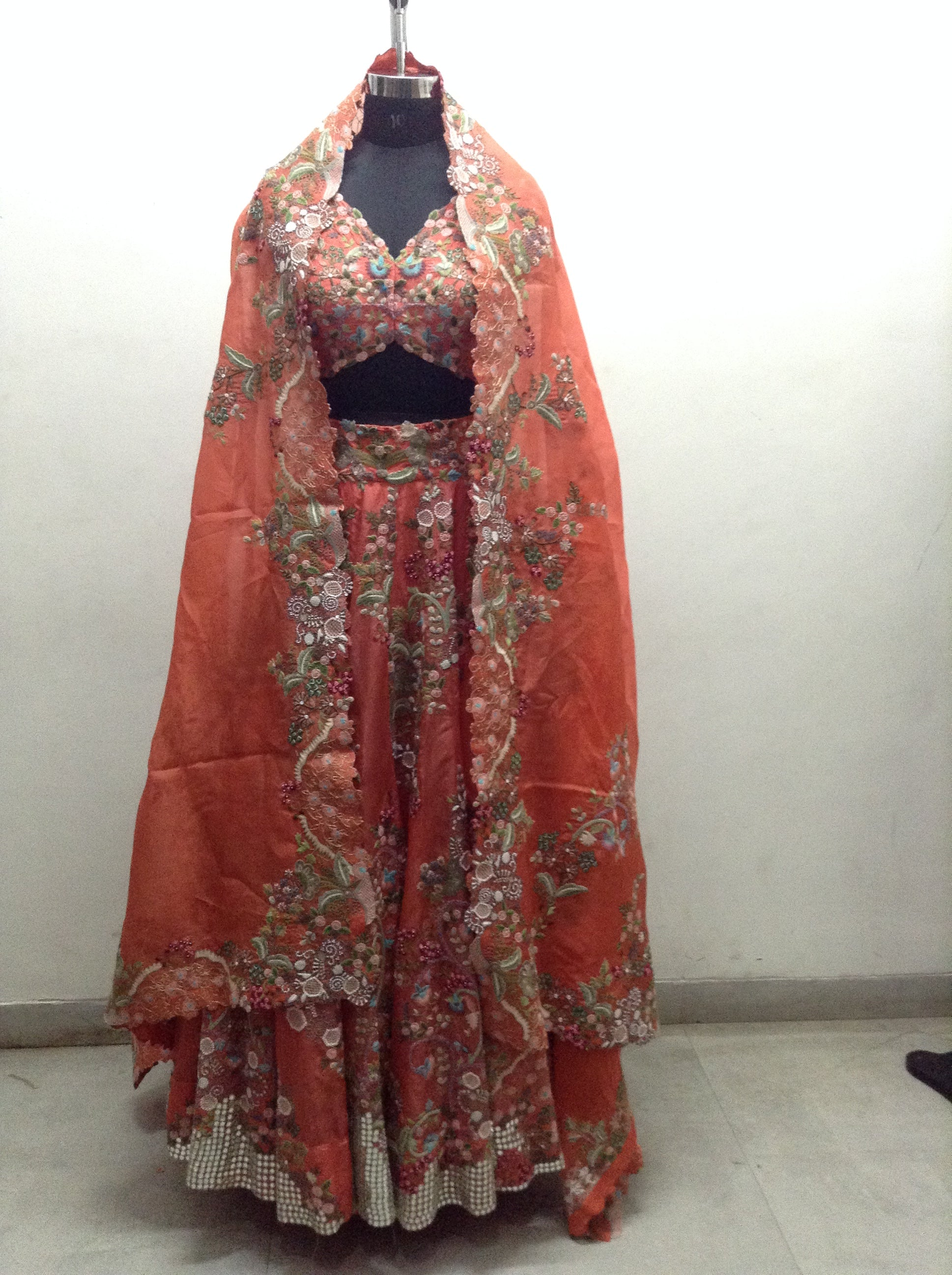 Multi Resham Floral + Mirror Lehenga - The Grand Trunk