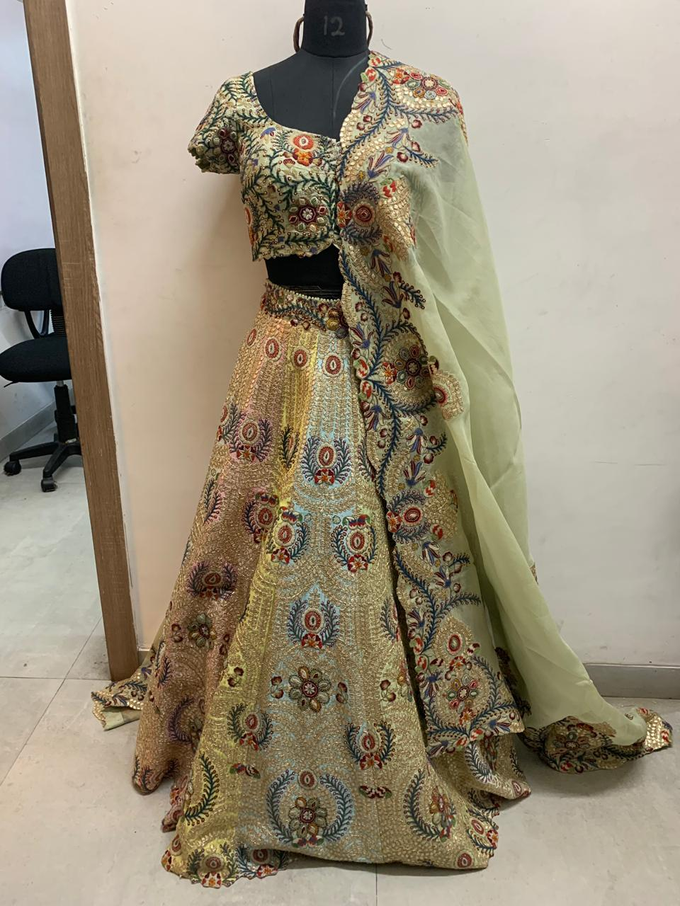 Seven Color Tribal with Gota Raw Silk Lehenga - The Grand Trunk