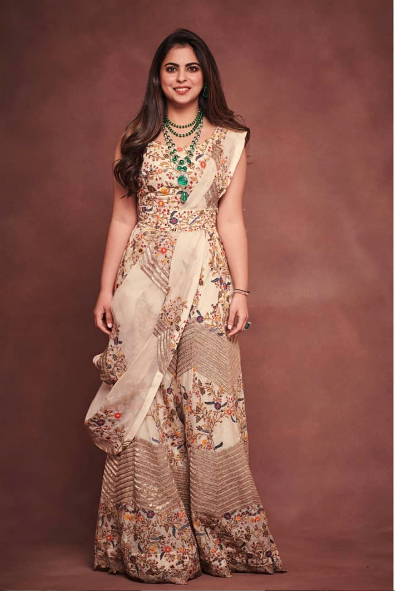 Isha Ambani in Anamika Khanna outfit - The Grand Trunk