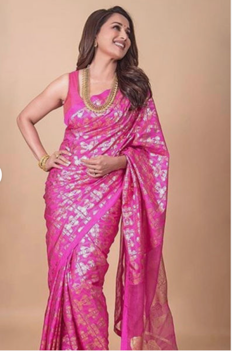 Cabaret Pink Tree Trunk Silk Sari With Cabaret Pink Embroidered Blouse Piece - The Grand Trunk