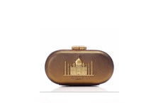 Load image into Gallery viewer, Sabyasachi Taj Minaudiere in Sahara Gold Clutch - The Grand Trunk